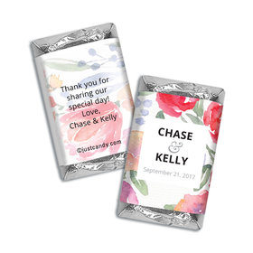 Personalized HERSHEY'S MINIATURES Wrappers Watercolor Flowers Wedding Favors