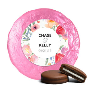 Personalized Wedding Watercolor Flowers Milk Chocolate Covered Oreo Cookies (24 Pack)