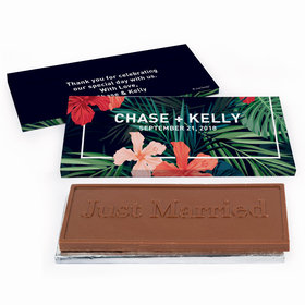 Deluxe Personalized Tropics Wedding Chocolate Bar in Gift Box
