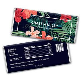 Personalized Chocolate Bar Tropical Flowers Wedding Favors