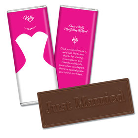 Embossed Just Married Bar Bride's Dress Wedding Favors