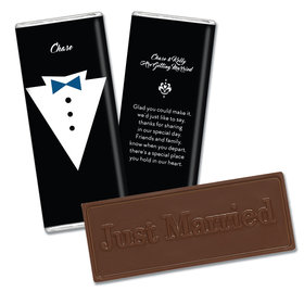 Embossed Just Married Groom's Tuxedo Wedding Favors