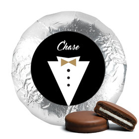 Personalized Wedding Groom's Tuxedo Milk Chocolate Covered Oreo Cookies (24 Pack)