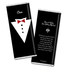 Personalized Chocolate Bar Wrappers Groom's Tuxedo Wedding Favors