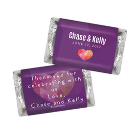 Personalized HERSHEY'S MINIATURES Purple Heart Wedding Favors