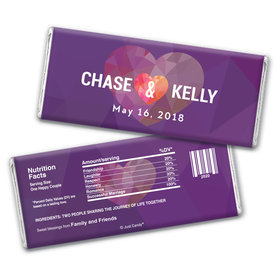 Personalized Chocolate Bar Wrappers Purple Heart Wedding Favors