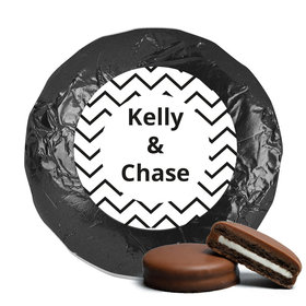 Personalized Wedding Chevron Party Milk Chocolate Covered Oreo Cookies with Black Foil