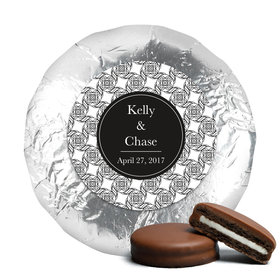 Personalized Wedding Love Knots Milk Chocolate Covered Oreo Cookies with Silver Foil