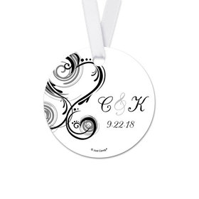 Personalized Heart Swirl Wedding Round Favor Gift Tags (20 Pack)