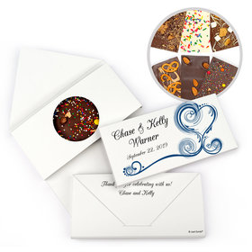 Personalized Swirl Heart Wedding Gourmet Infused Chocolate Bars (3.5oz)