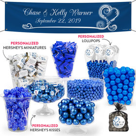 Personalized Wedding Blue Swirled Hearts Deluxe Candy Buffet