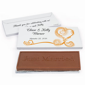 Deluxe Personalized Regal Elegance Wedding Chocolate Bar in Gift Box