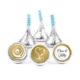 Personalized Hershey's Kisses - Metallic Wedding Swirl Hearts (50 Pack)