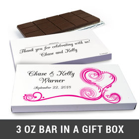 Deluxe Personalized Swirl Hearts Wedding Belgian Chocolate Bar in Gift Box (3oz Bar)