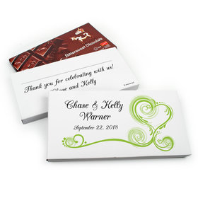 Deluxe Personalized Swirl Hearts Wedding Belgian Chocolate Parve Bar in Gift Box (3.5oz Bar)
