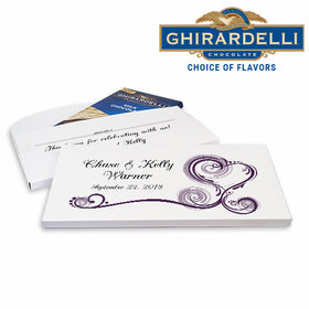 Deluxe Personalized Heart Scroll Wedding Ghirardelli Chocolate Bar in Gift Box