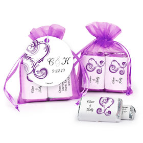 Personalized Wedding Swirled Heart Hershey's Miniatures in Organza Bags with Gift Tag