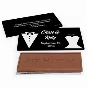 Deluxe Personalized Bride & Groom Wedding Chocolate Bar in Gift Box