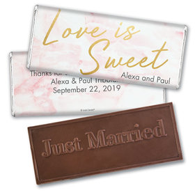 Personalized Wedding Love is Sweet Marble Embossed Chocolate Bar
