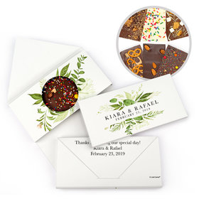 Personalized Whimsical Greenery Wedding Gourmet Infused Chocolate Bars (3.5oz)