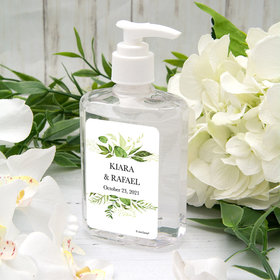 Personalized Hand Sanitizer Wedding 8 fl. oz bottle - Botanical Greenery