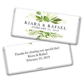 Personalized Wedding Botanical Greenery Chocolate Bar