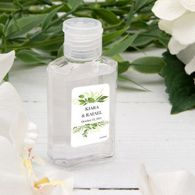 Personalized Hand Sanitizer Wedding 2 fl. oz bottle - Botanical Greenery