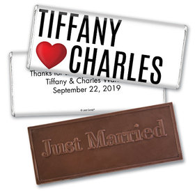 Personalized Wedding I Heart You Embossed Chocolate Bar