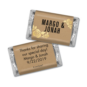 Personalized Wedding Golden Roses Hershey's Miniatures Wrappers