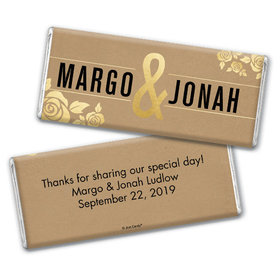Personalized Wedding Golden Roses Chocolate Bar