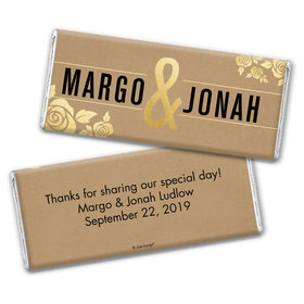 Personalized Wedding Golden Roses Chocolate Bar Wrappers