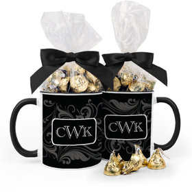 Personalized Wedding Filigree Pattern 11oz Mug with Hershey's Kisses