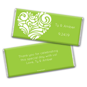 Personalized Wedding Modern Swirl Heart Chocolate Bar & Wrapper