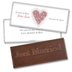 Personalized Wedding True Love Sparkles Embossed Chocolate Bar & Wrapper