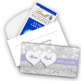 Deluxe Personalized Wedding Glitz & Glam Lindt Chocolate Bar in Gift Box (3.5oz)