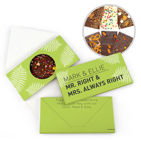 Personalized Mr. And Mrs. Right Wedding Gourmet Infused Belgian Chocolate Bars (3.5oz)