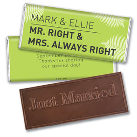 Personalized Wedding Favor Embossed Chocolate Bar Mr. And Mrs. Right