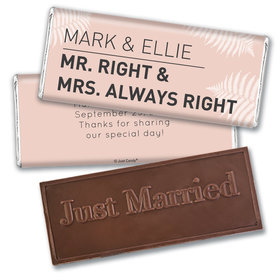 Personalized Embossed Just Married Wedding Favor Mr. And Mrs. Right Chocolate Bar & Wrapper
