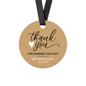 Personalized Thank You Heart Wedding Round Favor Gift Tags (20 Pack)