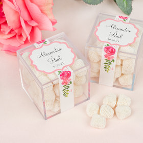 Personalized Wedding Peony Dream Sweet Candy in a Cube with Jelly Belly Champagne Gumdrops
