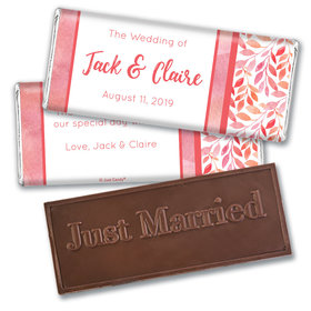 Personalized Lovely Leaves Wedding Embossed Chocolate Bars