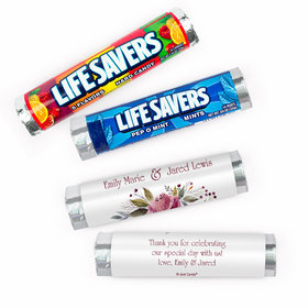 Personalized Flowering Affection Wedding Lifesavers Rolls (20 Rolls)
