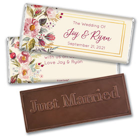 Personalized Blooming Bouquet Wedding Embossed Chocolate Bars