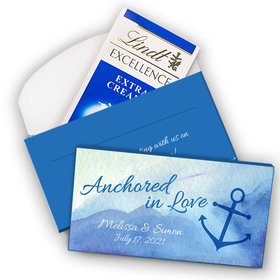 Deluxe Personalized Wedding Anchored in Love Lindt Chocolate Bar in Gift Box (3.5oz)