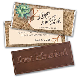 Personalized Sweet Burlap Wedding Embossed Chocolate Bars