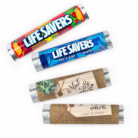 Personalized Sweet Burlap Wedding Lifesavers Rolls (20 Rolls)