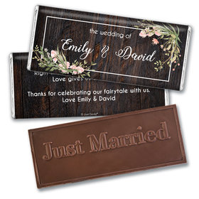 Personalized Rustic Romance Wedding Embossed Chocolate Bars