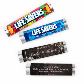 Personalized Rustic Romance Wedding Lifesavers Rolls (20 Rolls)