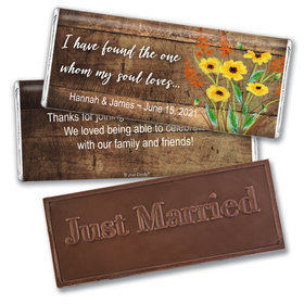 Personalized Painted Flowers Wedding Embossed Chocolate Bars