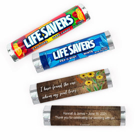 Personalized Painted Flowers Wedding Lifesavers Rolls (20 Rolls)
